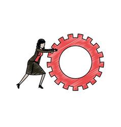 businesswoman pushing a big gears cogwheel in vector image