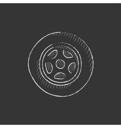 Car wheel drawn in chalk icon vector