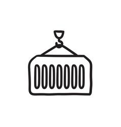 Cargo container sketch icon vector