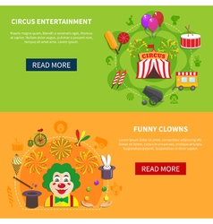 Circus and clowns horizontal set banner vector
