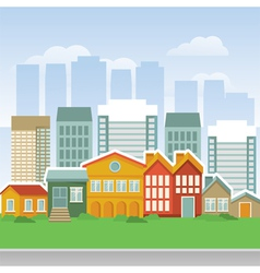 city with cartoon houses and buidings vector image vector image