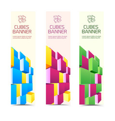 cubes vertical banners vector image