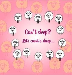 Cute sheeps postcard vector image