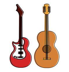 electric guitar and acoustic instruments isolated vector image vector image