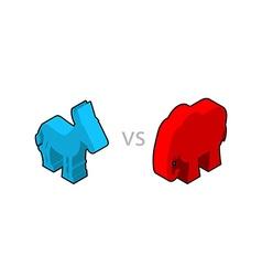 Elephant and donkey isometrics symbols of usa vector