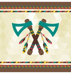 Ethnic background with tomahawk in navajo design vector