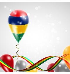 Flag of mauritius on balloon vector