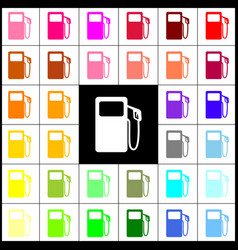 Gas pump sign felt-pen 33 colorful icons vector