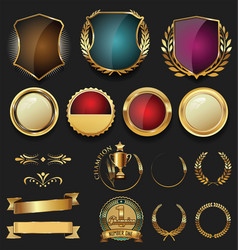 Golden shield laurel wreath and badge retro vector