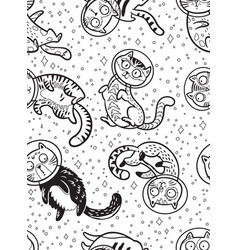 Graphic cats astronauts drawn in line art style vector