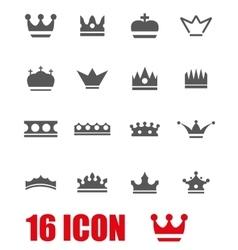 Grey crown icon set vector
