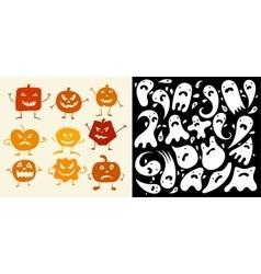 Halloween pumpkin and ghosts set vector
