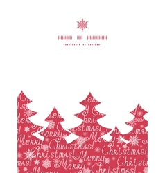 Merry christmas text pine tree silhouette pattern vector