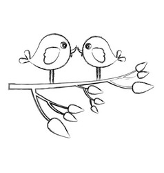 Monochrome sketch with pair birds in tree branch vector