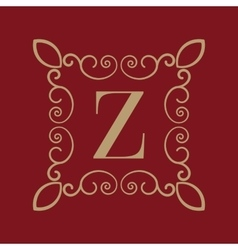 Monogram letter z calligraphic ornament gold vector