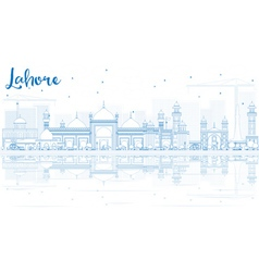 Outline lahore skyline with blue landmarks vector