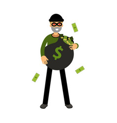 professional burglar character with hearts in his vector image vector image