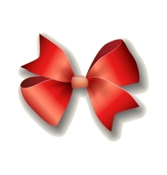 Red ribbon bow on white background vector image vector image