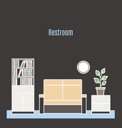 Restroom interior design in line style vector