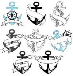 set of sea anchors vector image vector image