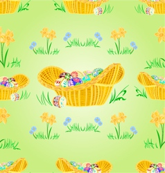 Straw basket with easter eggs seamless texture vector
