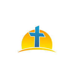 Sun and symbol christian cross logo vector
