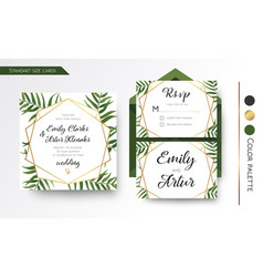 Wedding invitation save the date rsvp invite vector
