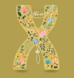 yellow letter x with floral decor and necklace vector image