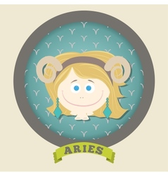 Zodiac signs collection Cute horoscope - ARIES vector image vector image