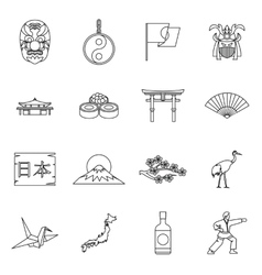 Japan icons set outline style vector image