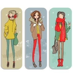 Cute cartoon girls vector