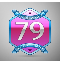 Seventy nine years anniversary celebration silver vector