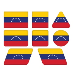 Buttons with flag of venezuela vector
