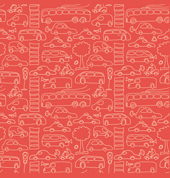 red seamless transport pattern vector image