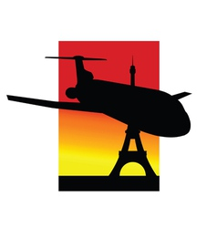 Airplane and eiffel tower silhouette vector