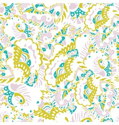 Abstract seamless hand-drawn pattern with leaves vector