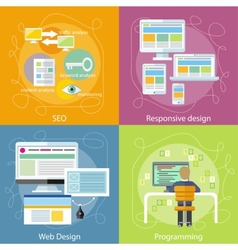 Programmer seo and responsive web design vector