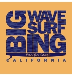 Surfing t-shirt graphic design pacific coast vector