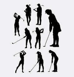 Female golfer sport silhouettes vector