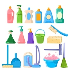 Household cleaning equipment set vector