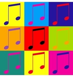 Music sign pop-art style icons set vector