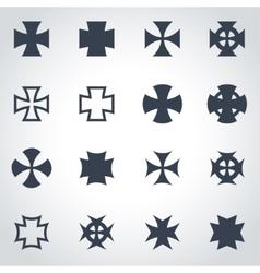 Black choppers crosses icon set vector