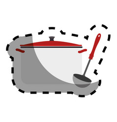 Color sticker with pans and soup ladle vector
