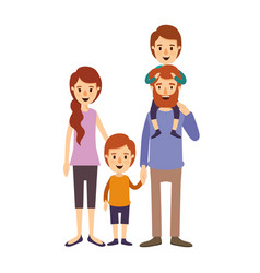 Colorful image caricature family parents with boy vector