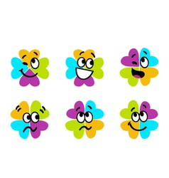 cute colorful four leaf clover collection vector image vector image
