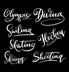 diving sport hand written typography vector image