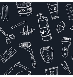 Doodle seamless pattern with hair removal tools vector