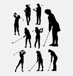 Female golfer sport silhouettes vector image vector image