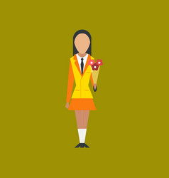Flat icon on stylish background schoolgirl flowers vector