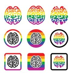 Gay Human brain icons set - rainbow symbol vector image